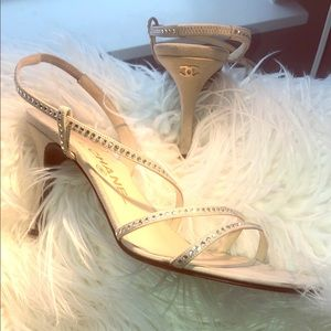 Gorgeous Chanel tan crystal suede sandal